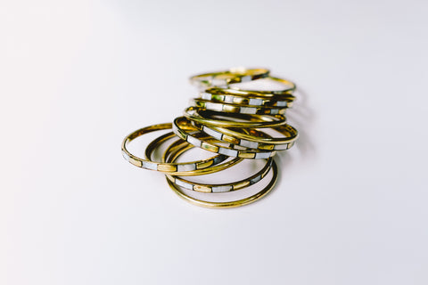 Gold and Ivory bangle stack