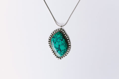 Boho aqua stone necklace