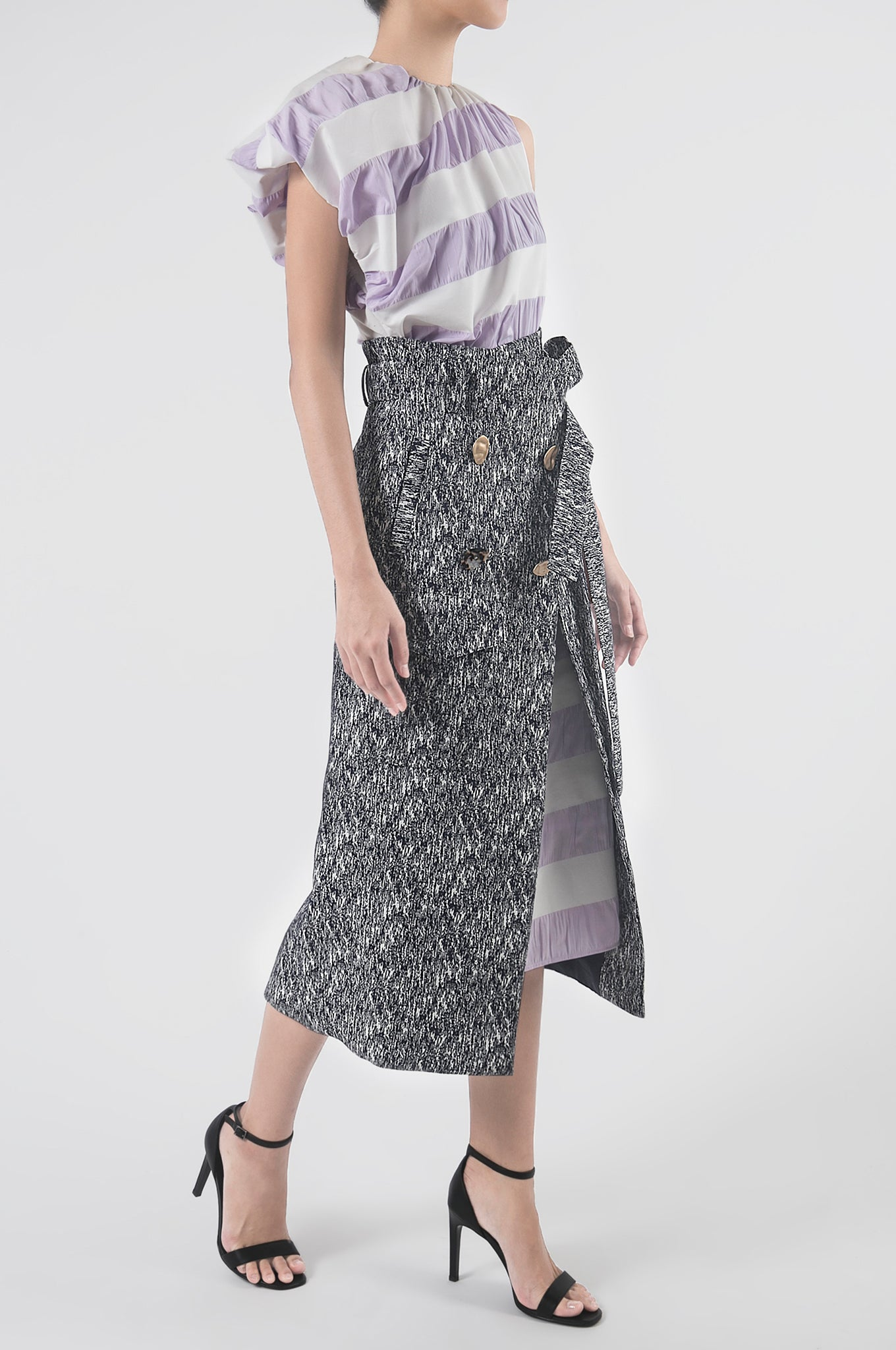 Lilac/Dark Blue Asymmetrical Sleeve Shirtdress with Detachable Wrap Skirt
