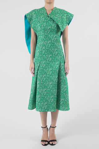Emerald Asymmetrical Sleeve Paneled Midi Dress