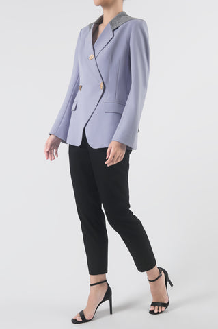 Lavender Double Breasted Hooded Blazer