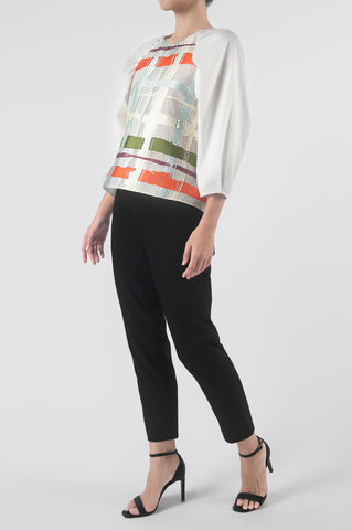 Multi B Jacquard Raglan Sleeve Top