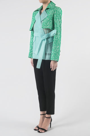 Emerald/Mint Light Blazer with Bolero Overlay