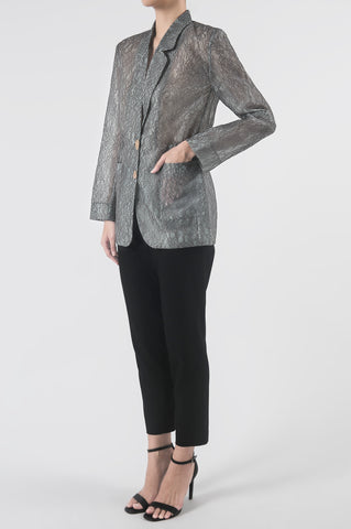 Grey Lace Drawstring Light Blazer
