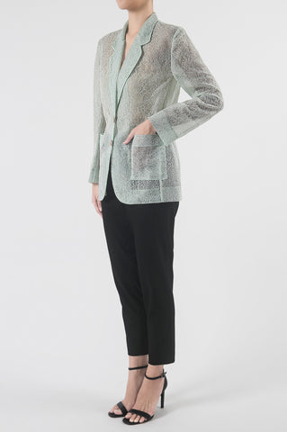 Mint Lace Drawstring Light Blazer