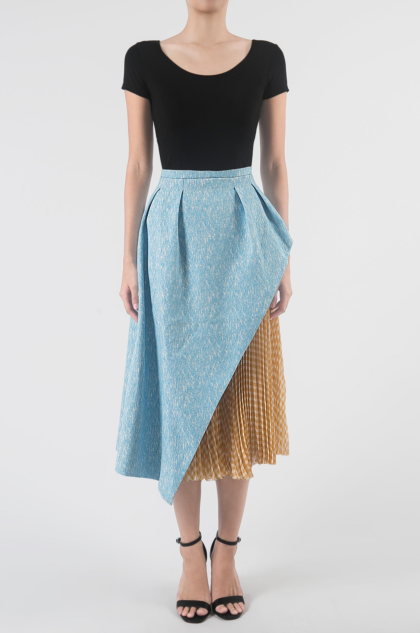 Light Blue/Cinnamon Asymmetrical Pleated Skirt