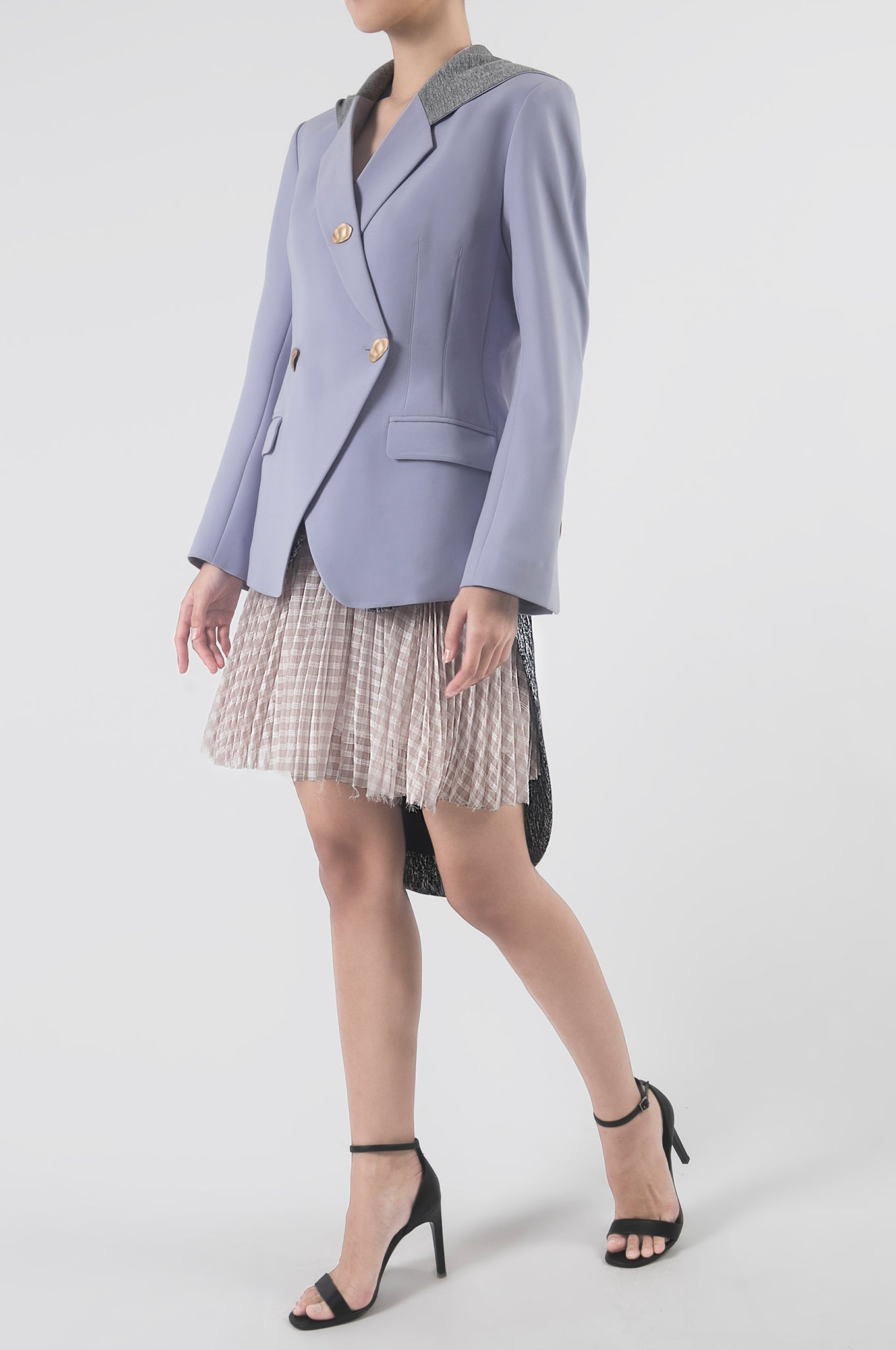Dark Blue/Beige Tailcoat Pleated Mini Skirt