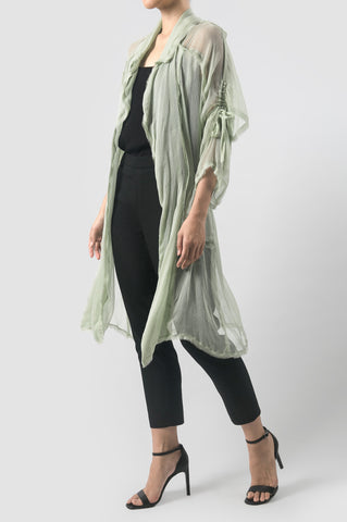 Emerald/Mint Light Trench Coat with Bolero Overlay