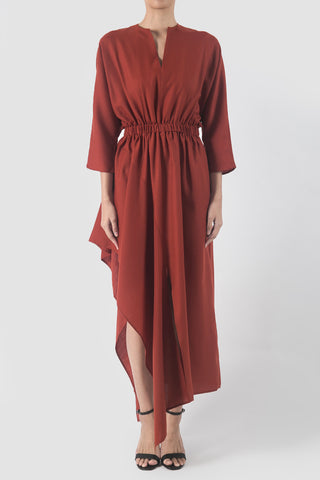 Burgundy Silk Flow Dress