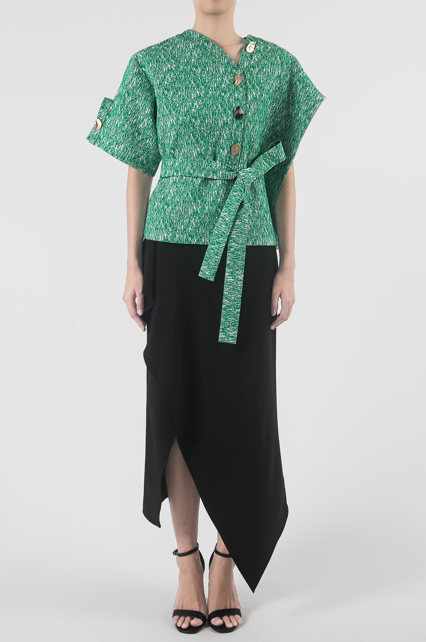Emerald Asymmetrical Handkerchief Sleeve Top