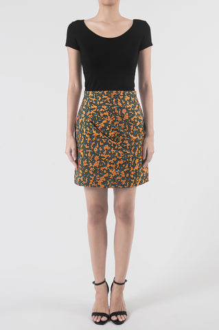Jacquard Orange Huipil Skirt