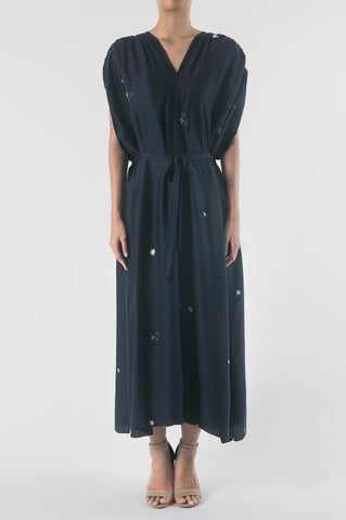 Dark Blue/Cinnamon Double Breasted Pleated Trench Dress