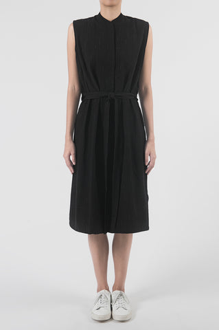 Cross Lapel Paneled Midi Dress
