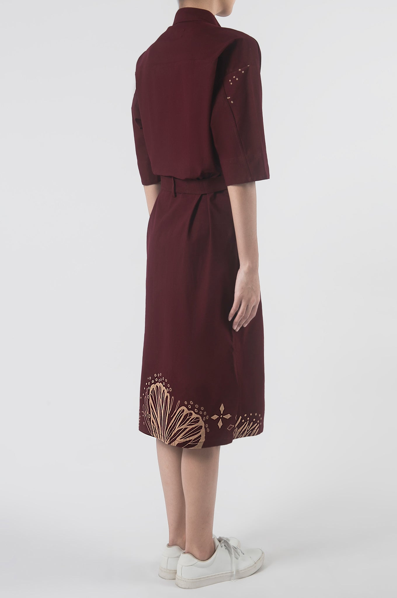 Kupu Burgundy Shirt Dress