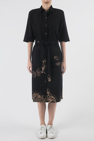 Kupu Charcoal Gold Shirt Dress
