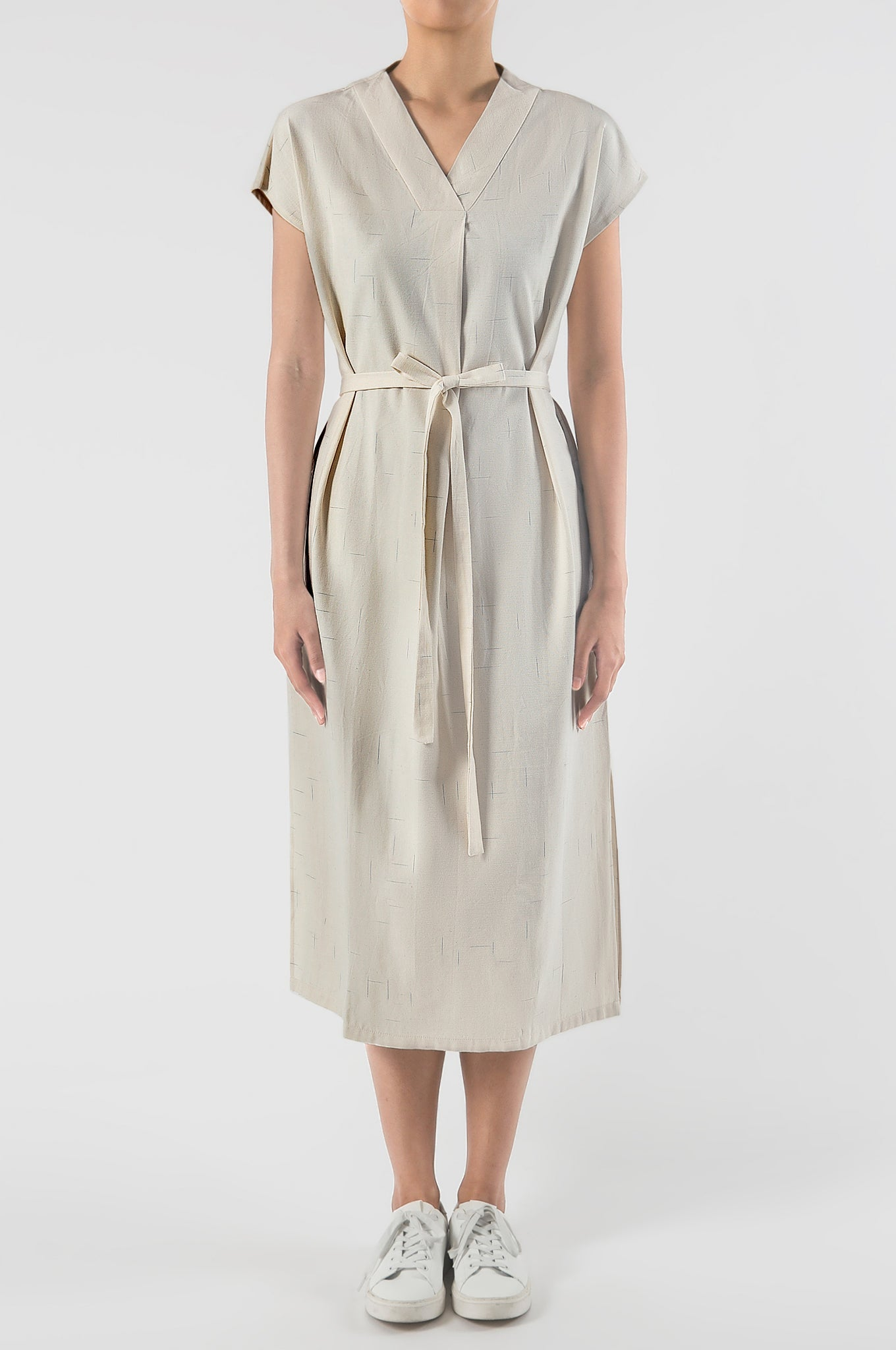 PAGI Pleated V-Neck Dress