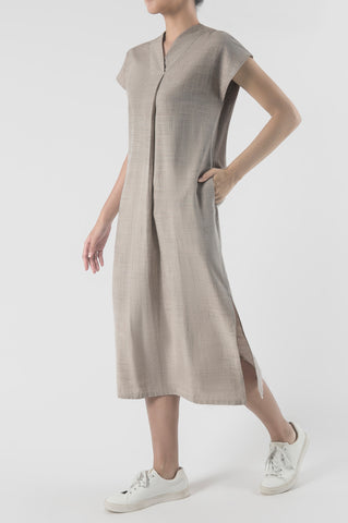 Senja Pleated V-Neck Dress
