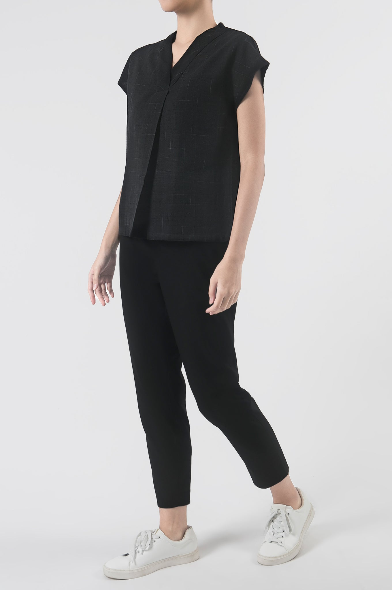 M'ALAM Pleated V-Neck Top