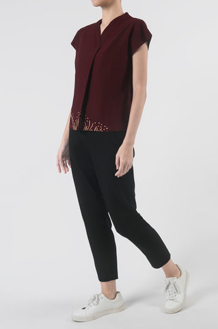 Kupu Burgundy Pleated V-Neck Top