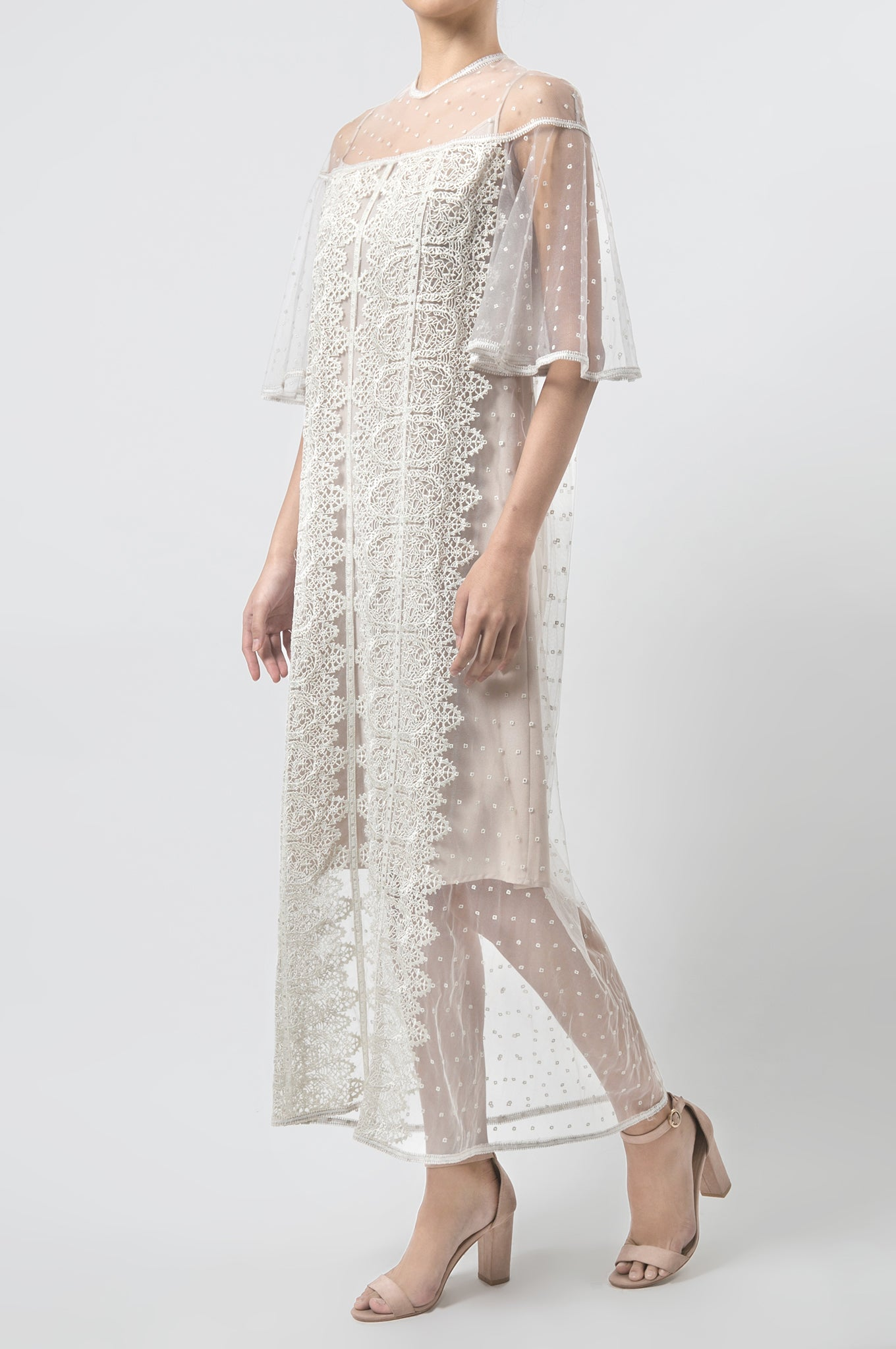 Oyster Lace Tulle Dress