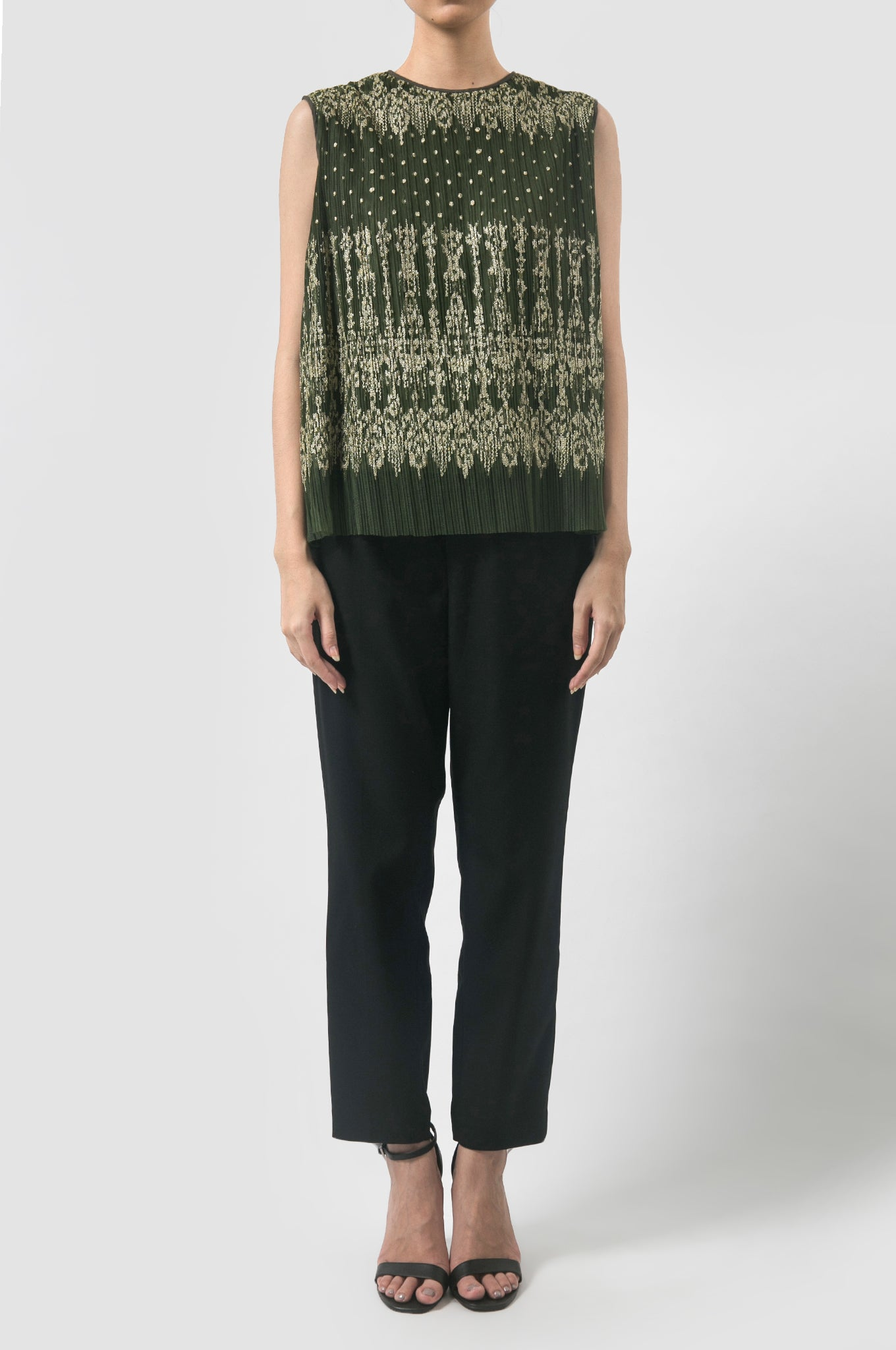 Pine Pleated Ikat Top