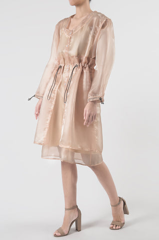 Blush Organza Dress with Drop Shoulders
