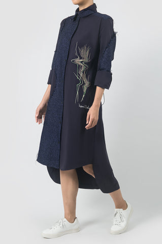 Navy Backless Shirt Dress