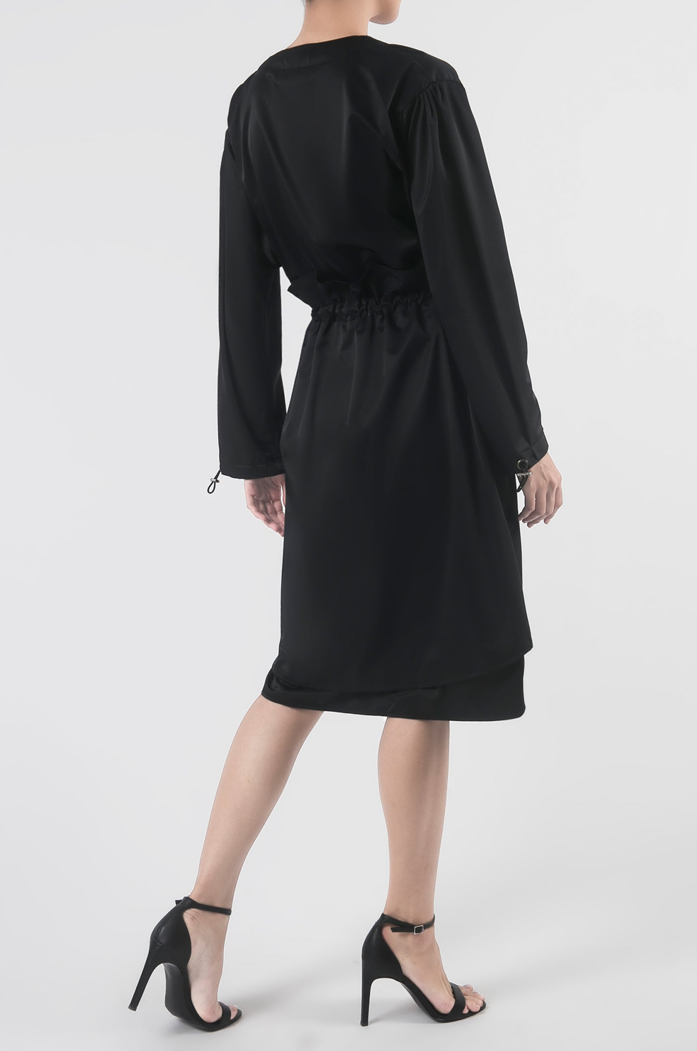 Black Nylon Dress with Drop Shoulders