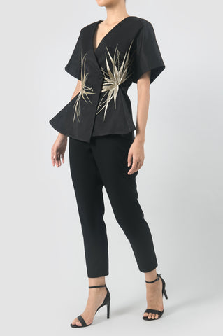 Black Signature Kimono with Gold Embroidery