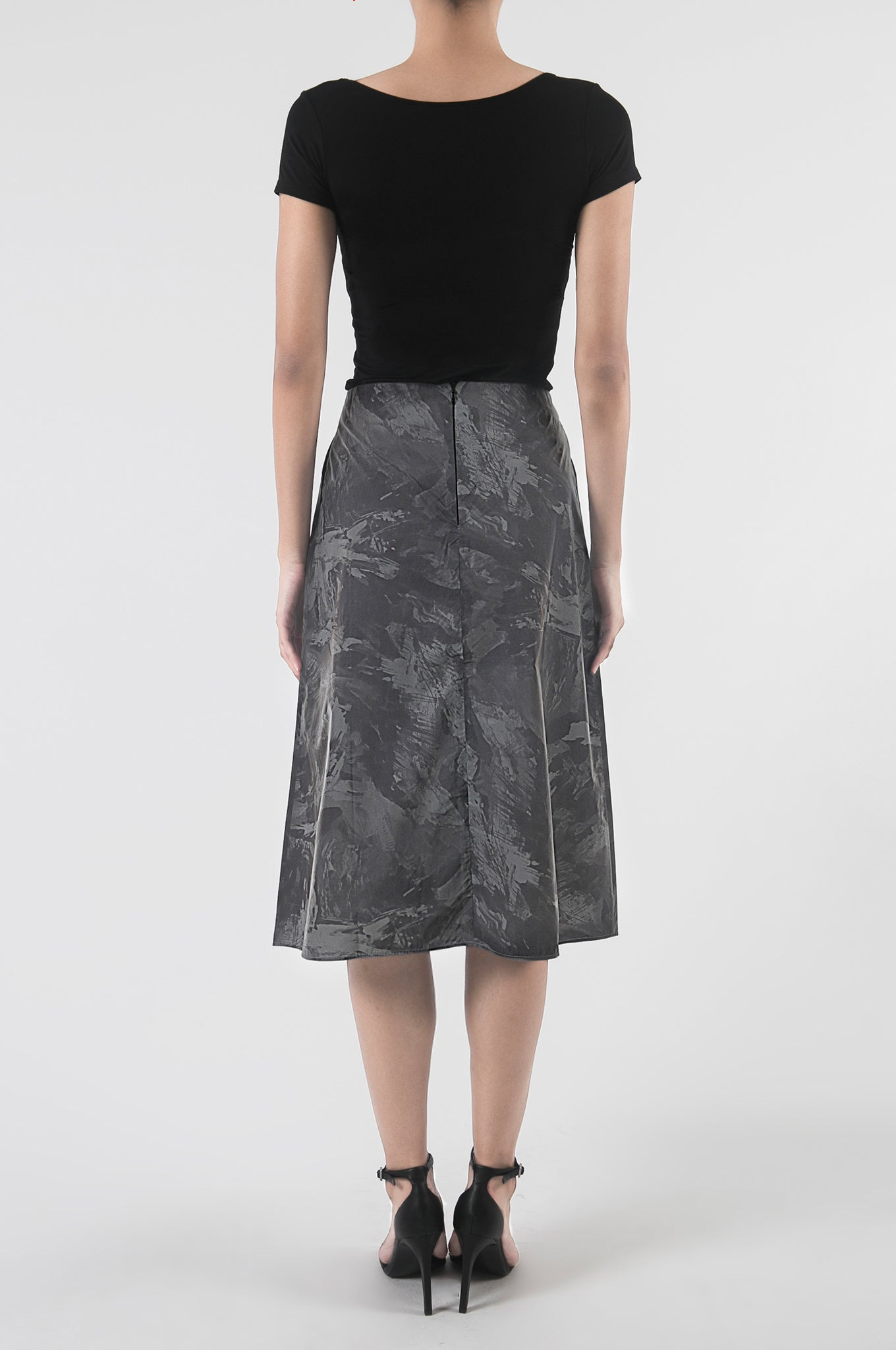 Reflective Abstract Print Skirt