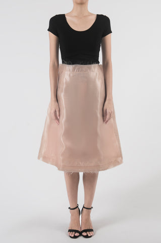 Blush Skirt with Sheer Organza Layered Patch