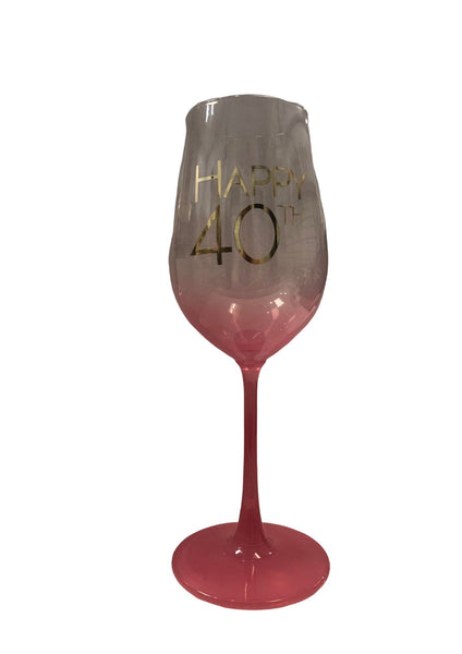Graduated Wine Glass | 40th Pink