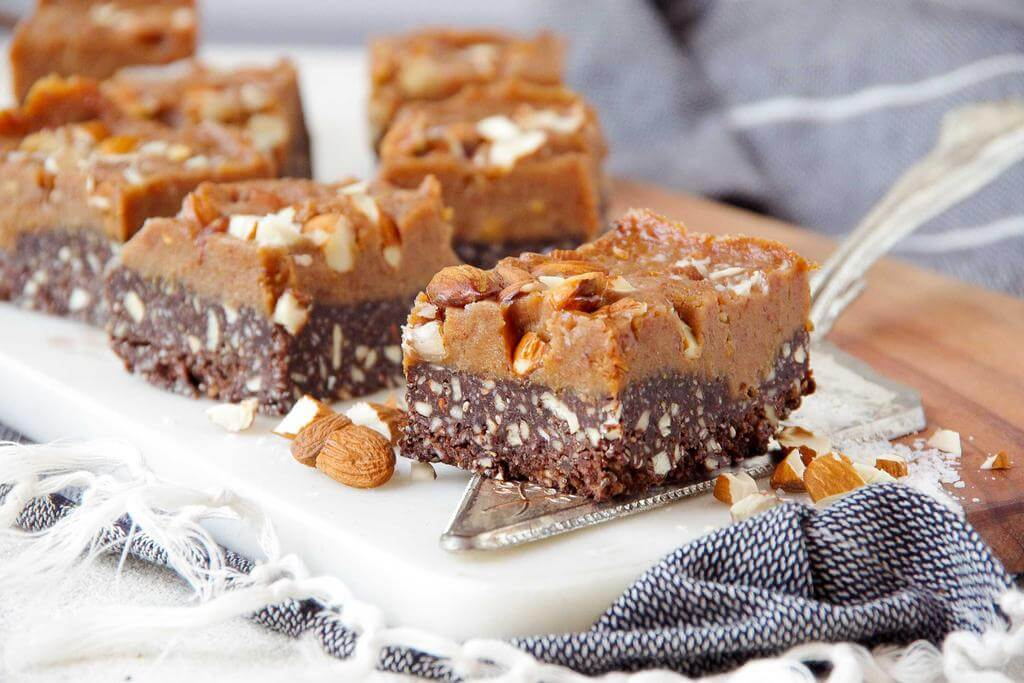 Almond Caramel Fudge Slice
