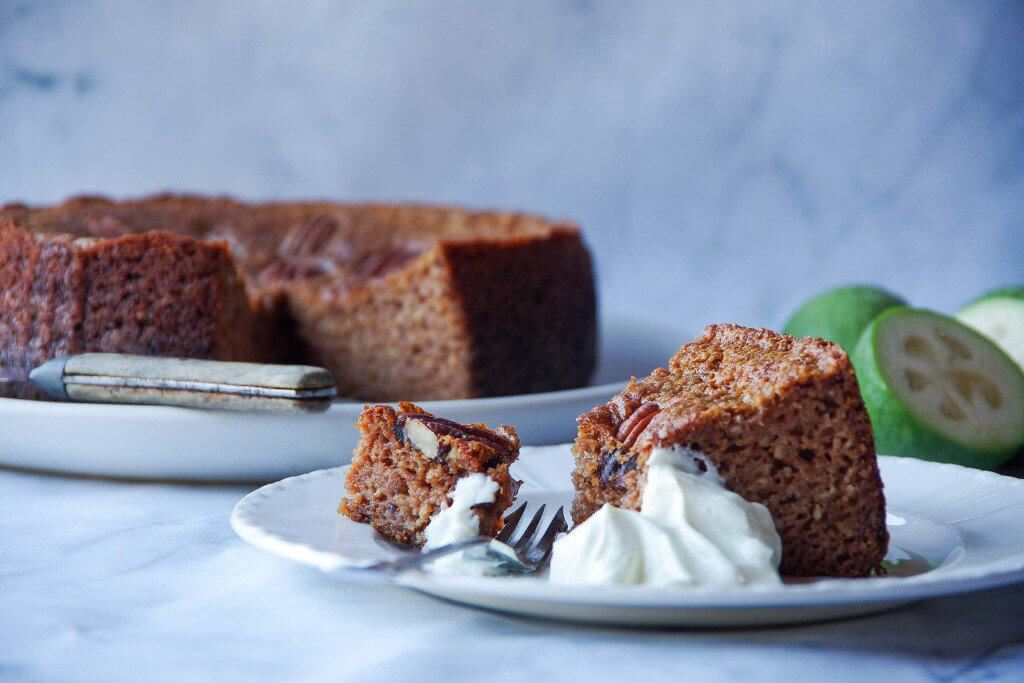 Ginger and Feijoa Pecan Cake