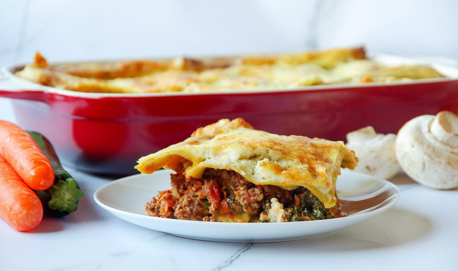 Hidden Vege Lasagne with Cauliflower Cheese Sauce