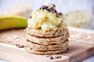 Easy Single Serve Oatmeal Pancakes with Stewed Cinnamon Apples