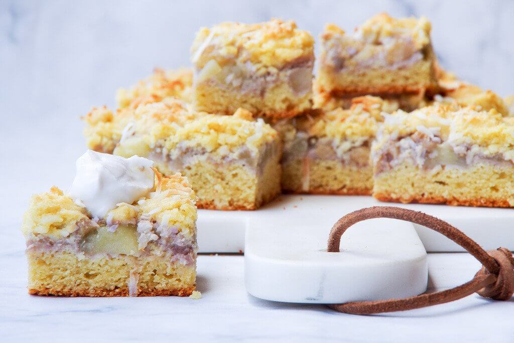 Feijoa and Apple Shortcake Slice