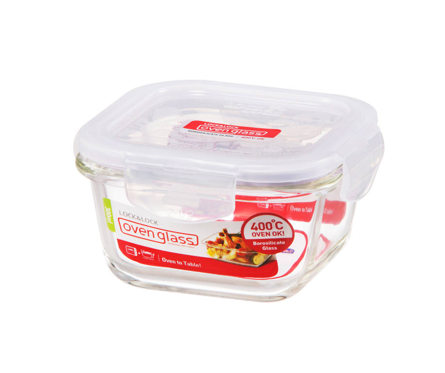 Square Resistant Glass Container - Euro Heat- 300ml