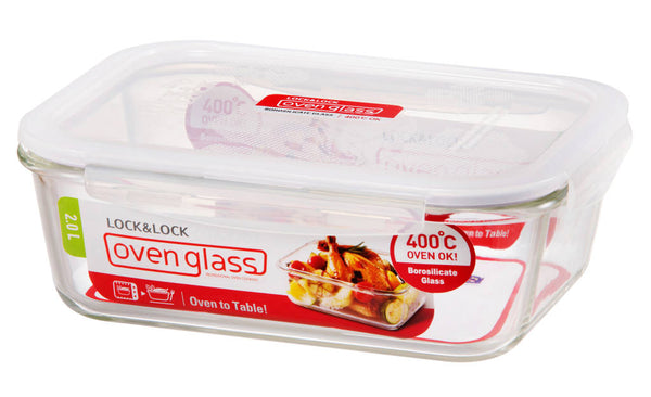 Rectangle Glass Container - Euro Heat- 2L