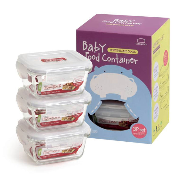 Euro Glass Baby Food Container Square Set/3- 160ml