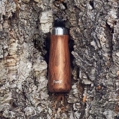 Traveller Wood Collection Insulated Bottle - Teakwood 470ml