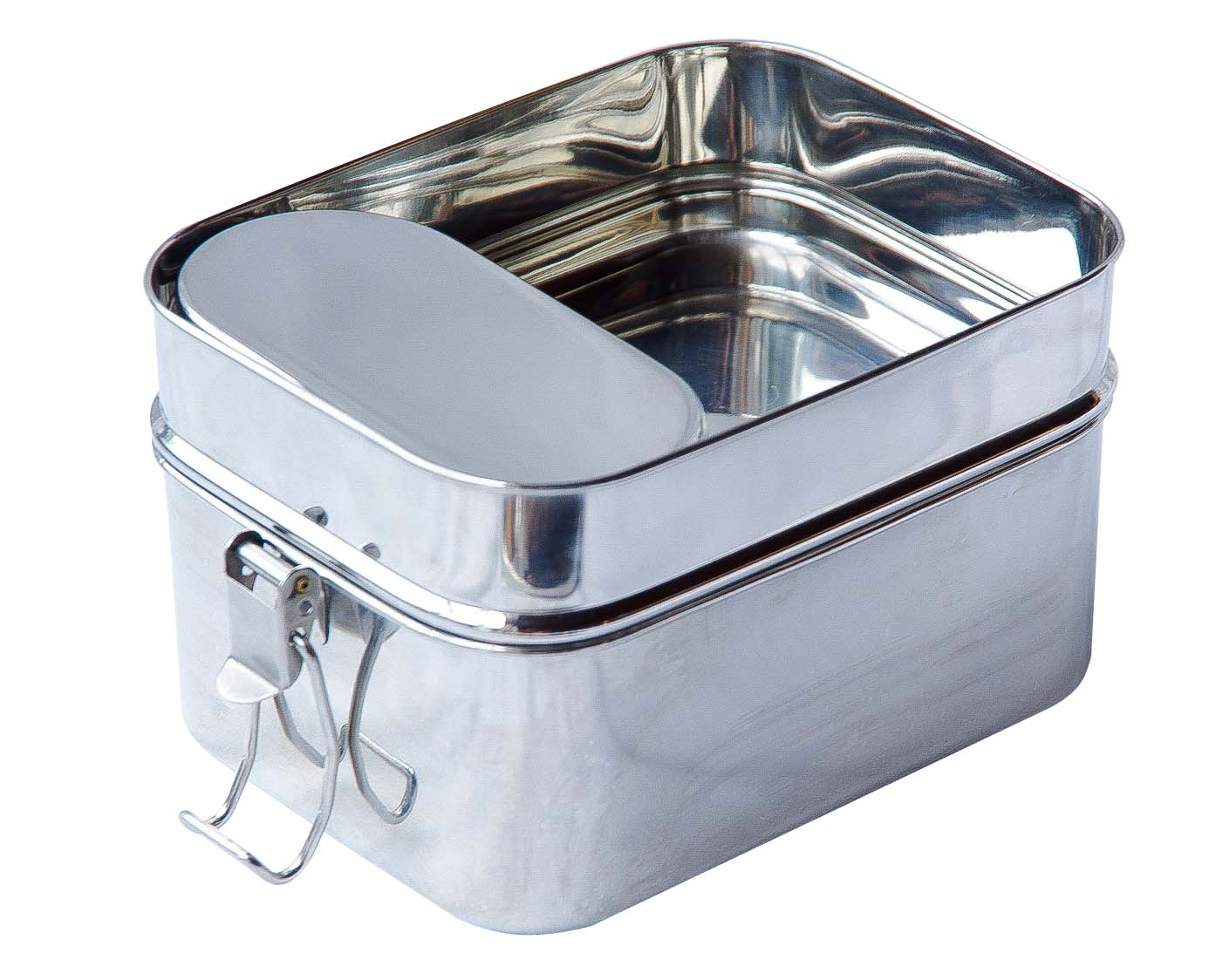 Stainless Steel Lunch Box Double Compartment Food carrier Food Storage Can
