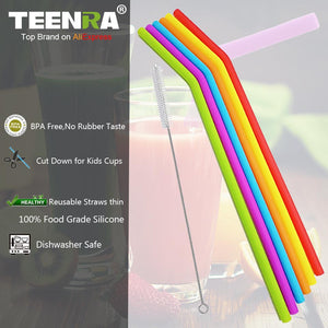 Silicone Straws - Multi Coloured - 6 pack