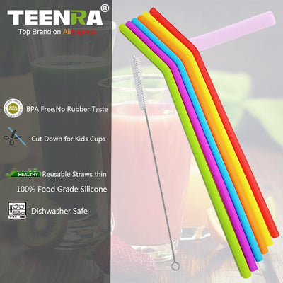 Silicone Straws NZ- Multi Coloured - 6 Pack