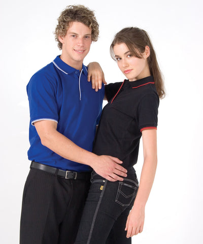 Ladies Double Stripe Trim Collar Polo