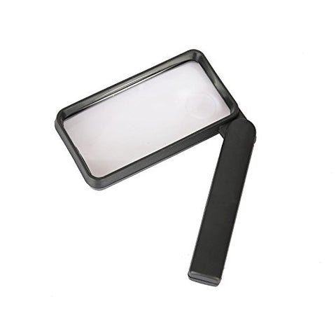 2x 110mm x 55mm Rectangular Magnifying Glass - Dual Magnifier with 4x 18mm Secondary Insert Magnification
