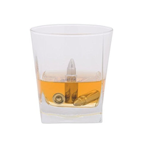 Drinks Chillers - Set of 6 Liquid Filled Whiskey Bullets with Tongs and Pouch