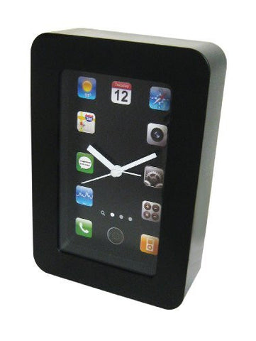 iClock - Desktop Alarm Clock - Looks like a phone - Analogue clock with app icons instead of numbers.