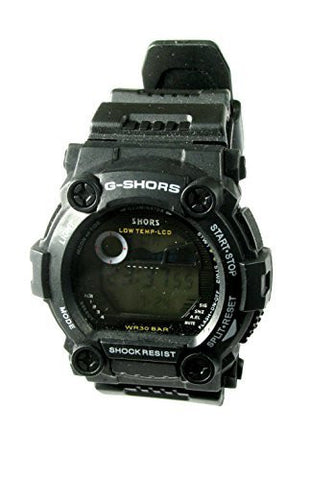 Sport Digital Watch with Stopwatch / Alarm / Date / Time / Week / Backlight - All Black