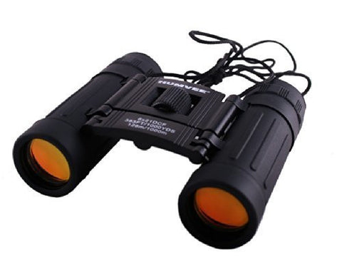 Humvee Binoculars 8 x 21 - Rubber Coated Black Compact Folding binocular. High Power Magnification with Fully Coated Anti-glare lenses. HIgh quality.
